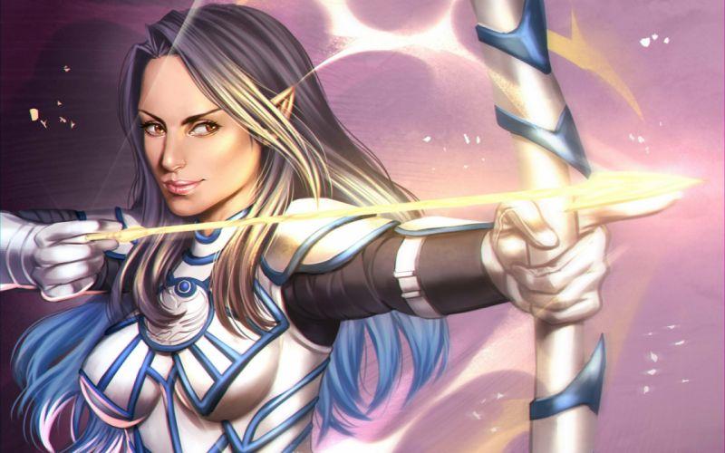 fantasy art artwork archer warrior elf elves girl girls wallpaper