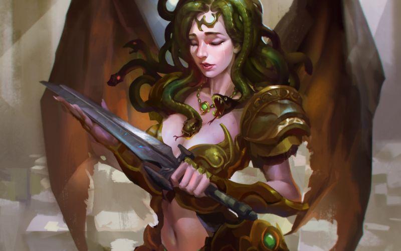 fantasy art artwork women woman girl girls medusa serpent snake warrior wallpaper