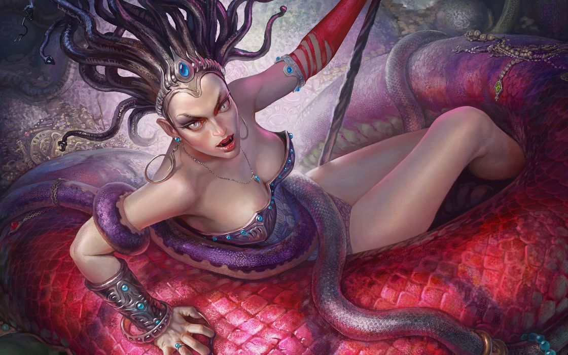 fantasy art artwork women woman girl girls medusa serpent snake warrior wallpaper