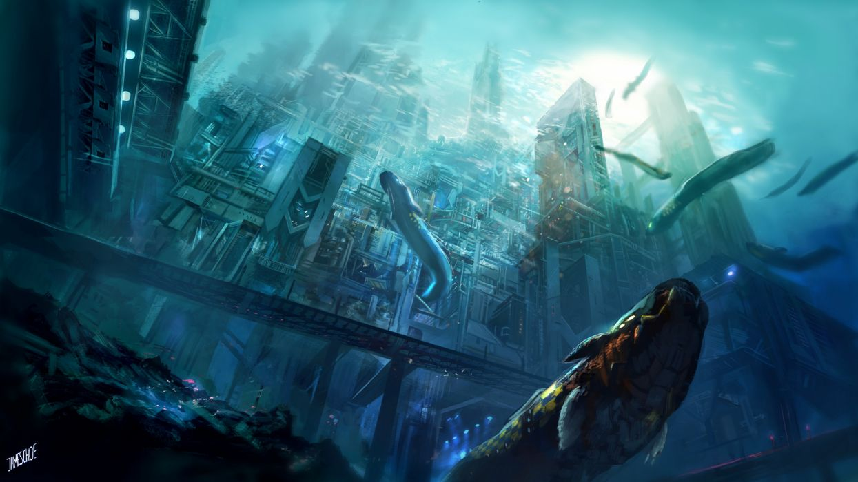 fantasy art artwork city cities castle whale underwater wallpaper