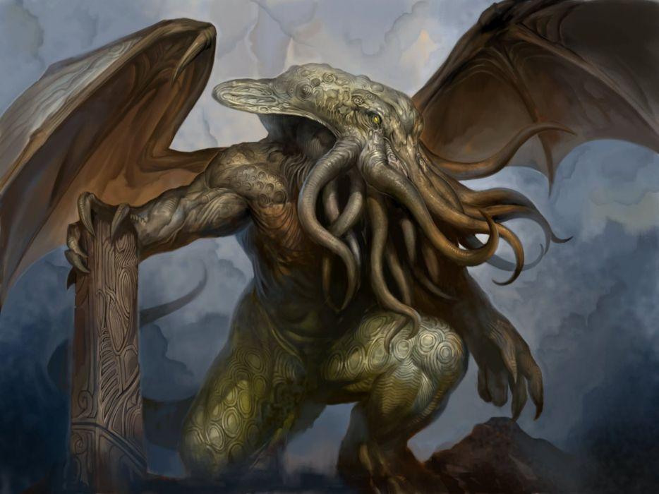 fantasy art artwork monster creature octopus Cthulhu wallpaper