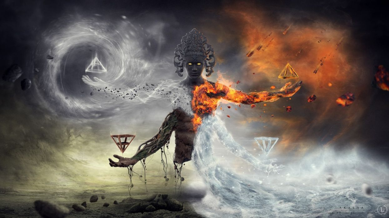 Fantasy Art Artwork Elemental Fire Gods God Ice Demon Psychedelic Wallpaper