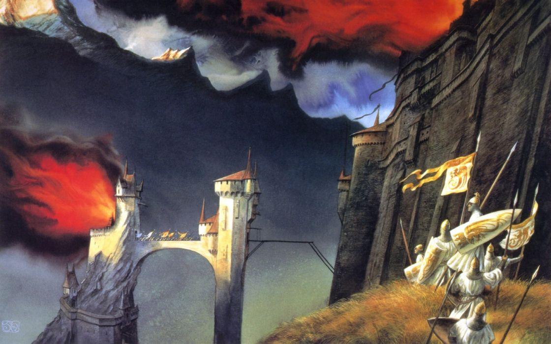 fantasy art artwork lord rings lotr knight warrior castle wallpaper