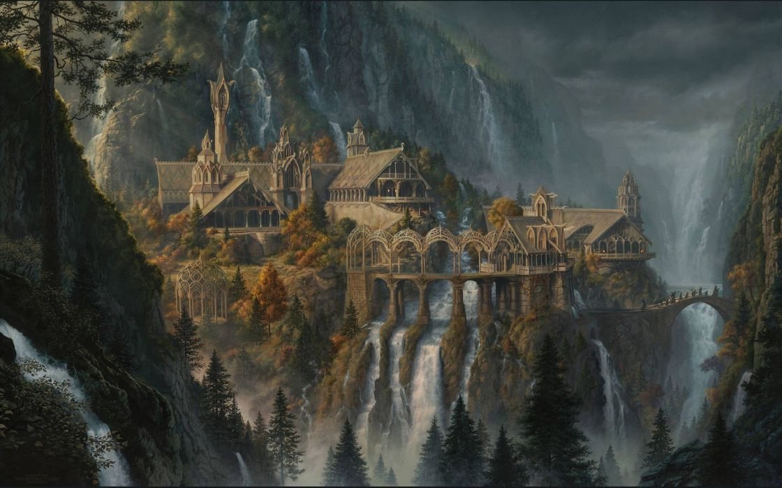 fantasy art artwork lord rings lotr waterfall city cities castle river detail wallpaper