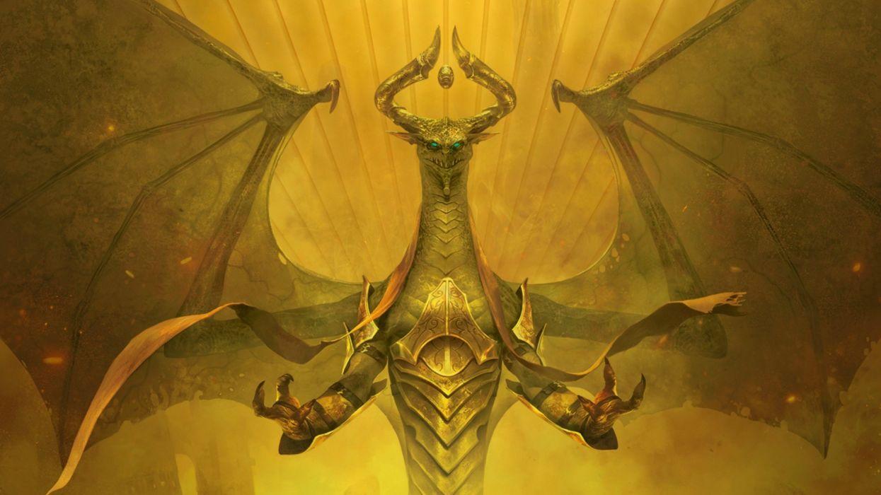 fantasy art artwork magic gathering dark dragon wallpaper