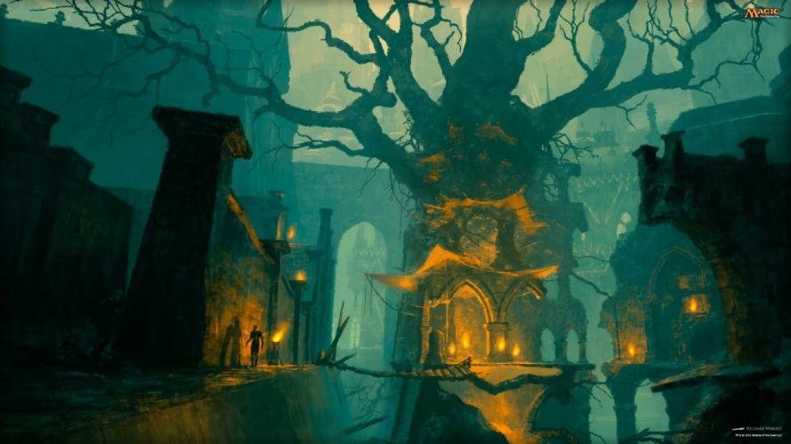 fantasy art artwork magic gathering dark city cities wallpaper