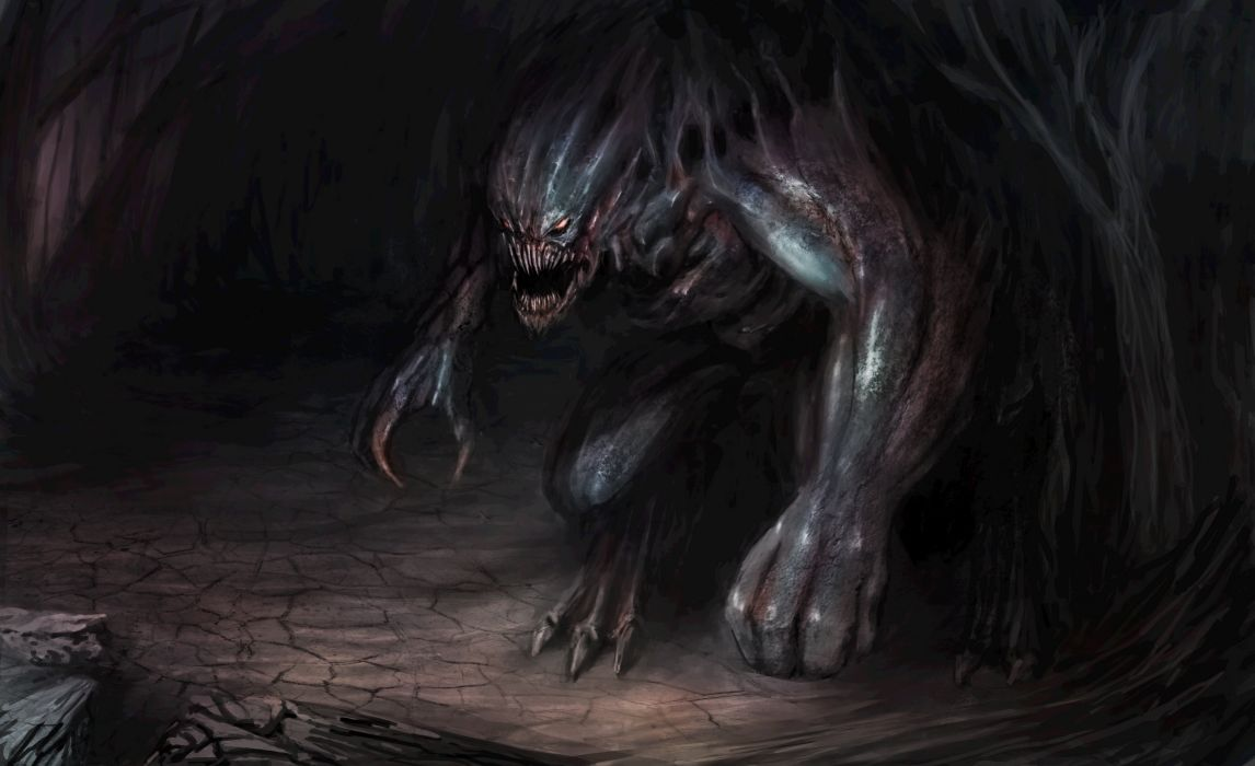 monster demon creature dark fantasy wallpaper