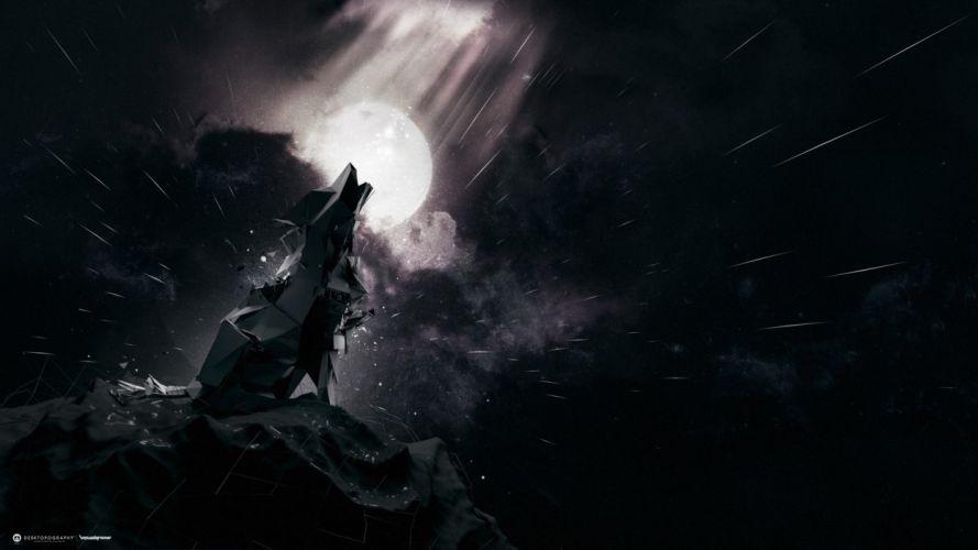 Wolves Robot Fantasy sci-fi wolf cyborg wallpaper