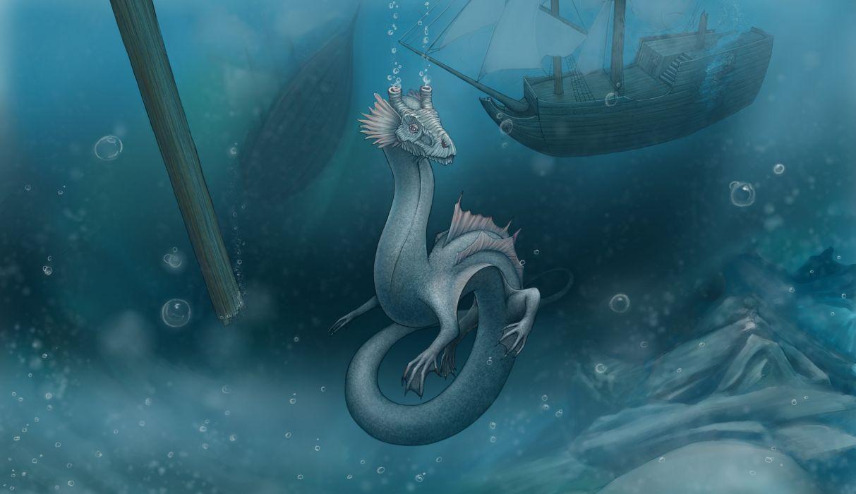 Dragon Underwater world Fantasy creature monster wallpaper