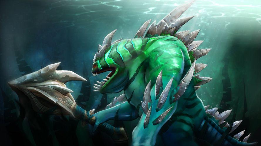 DOTA 2 Monster Tidehunter Games Fantasy warrior creature wallpaper