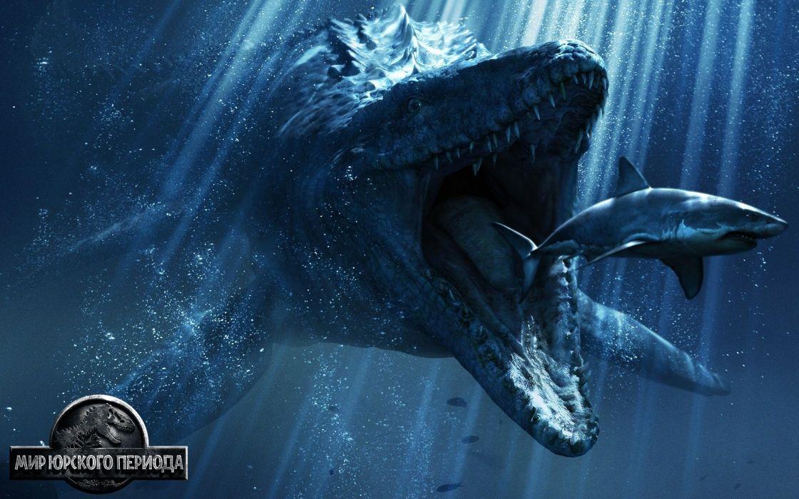 Jurassic World Underwater world Shark Ancient animals Fantasy dinosaur monster art artwork wallpaper