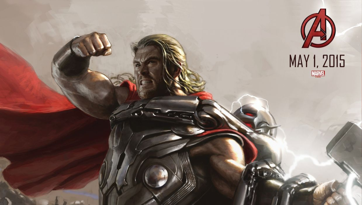 Avengers Age Ultron Chris Hemsworth Men Thor hero Movies Fantasy warrior comics poster wallpaper