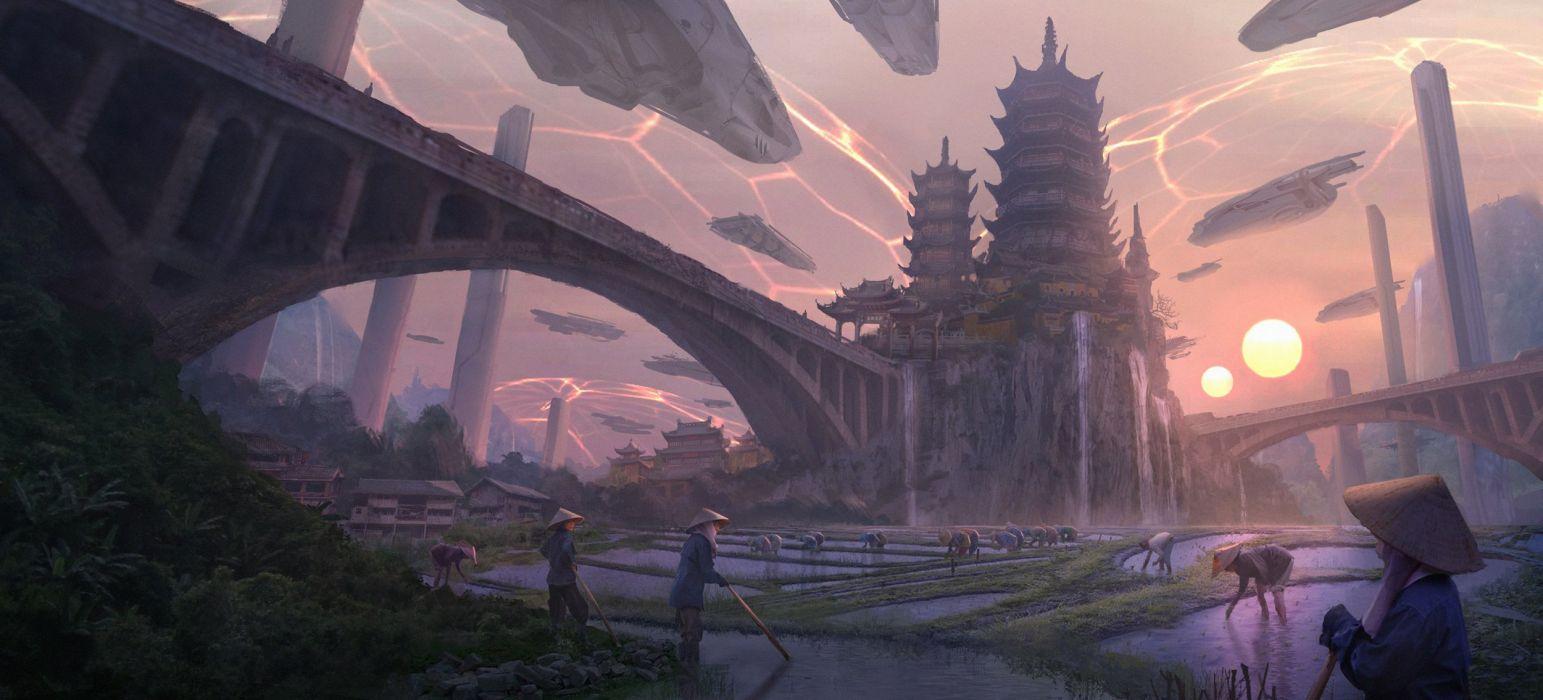 China Castle Sunrise sunset Bridge Fantasy Cities city asian oriental wallpaper