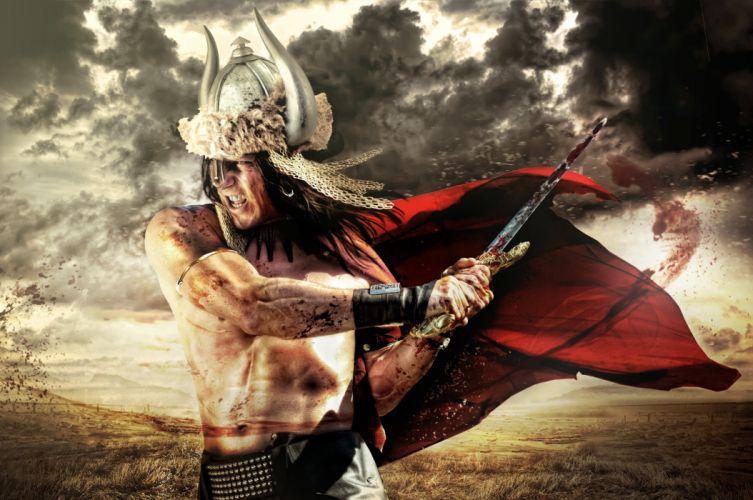 Warrior Men Sword Helmet Cloak Horns Fantasy wallpaper