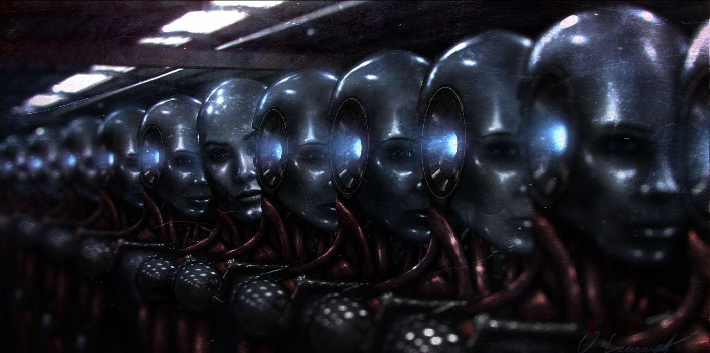 Robot android Fantasy sci-fi cyborg art artwork wallpaper