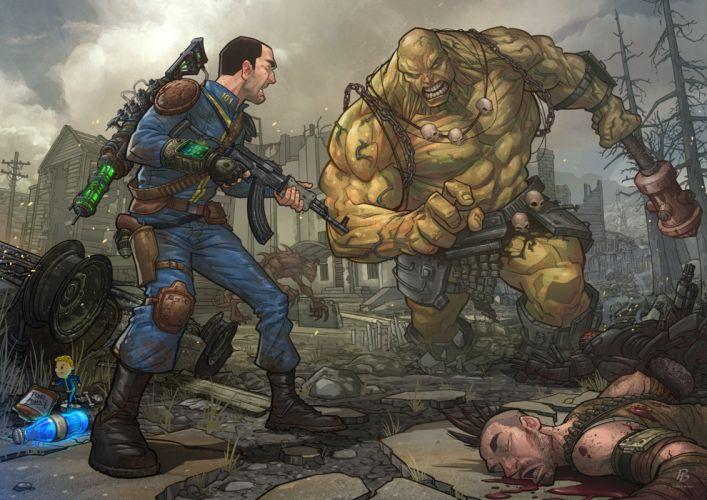 Fallout 3 Monster super mutant 101 super mutant behemoth behemoth chinese assault rifle bethesda Games Fantasy wallpaper