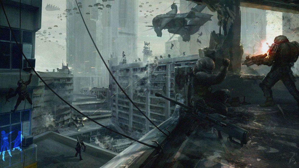 War Helicopter Soldier World War Fantasy Cities Army sci-fi warrior battle apocalyptic art artwork city wallpaper