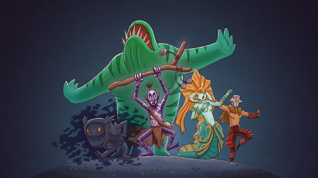 DOTA 2 Juggernaut Naga Siren Witch Doctor Slark Monster Mermaid Tidehunter Games Fantasy wallpaper