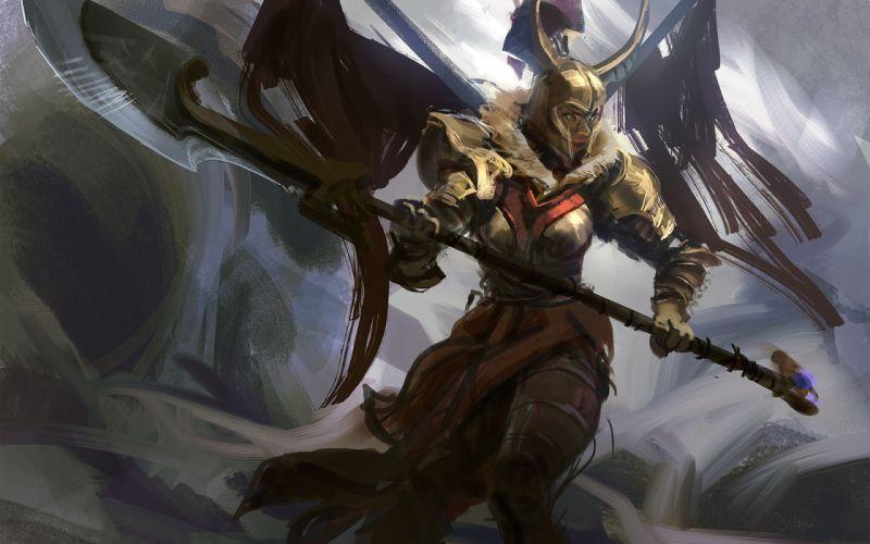 DOTA 2 Legion Commander Warrior Armor Helmet Spear Games Fantasy art artwork wallpaper