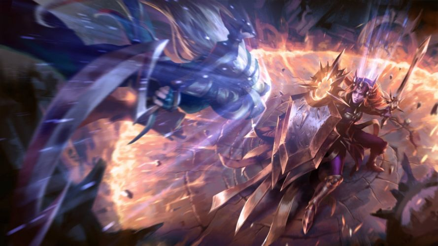League Legends fantasy art artwork warrior wallpaper