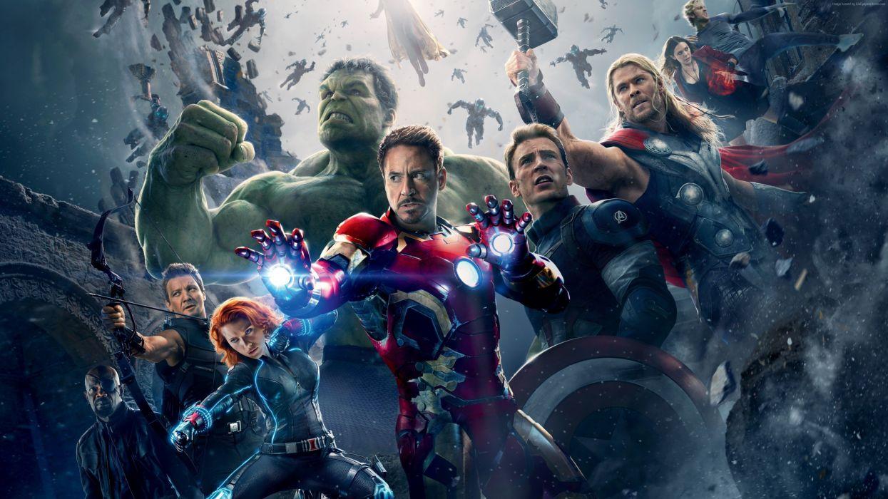 Avengers Age of Ultron Robert Downey Jr Chris Hemsworth Chris Evans Scarlett Johansson Men Warrior Hulk hero Thor hero Iron Man hero Movies Fantasy Celebrities wallpaper
