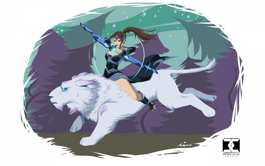 DOTA 2 Mirana Warrior Archer Magical animals Games Fantasy Girls wallpaper