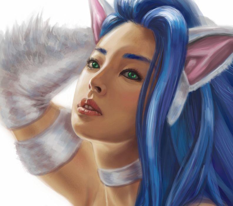 Face Glance Felicia Darkstalker Games Fantasy Girls girl artwork wallpaper