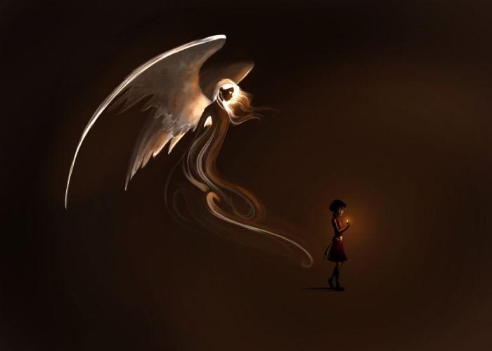 Angel Wings Little girls Fantasy Children artwork mood wallpaper