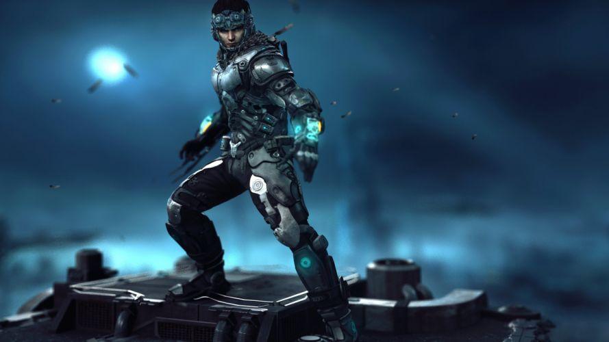 Warrior Night Armor sci-fi Fantasy armor suit artwork wallpaper