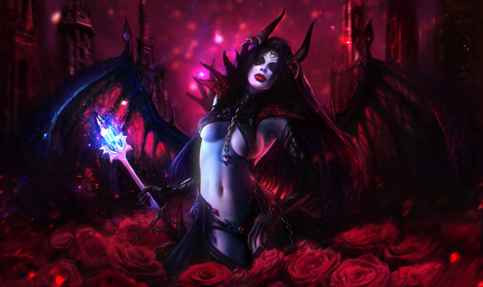 DOTA 2 Queen of Pain Demon Roses Mage Staff Games Girls Fantasy dark    Queen Of Pain Dota 2 Cosplay