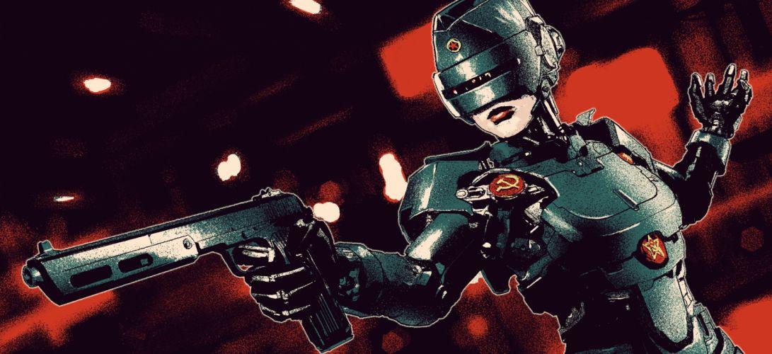 RoboCop Pistol USSR Robot Soviet Union Fantasy Girls cyborg sci-fi wallpaper