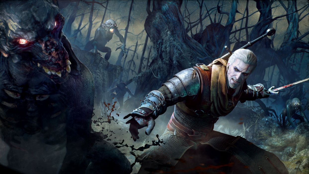 Witcher 3 Wild Hunt Battle foglings CD Projekt RED Geralt of Rivia Geralt Games Fantasy warrior artwork wallpaper