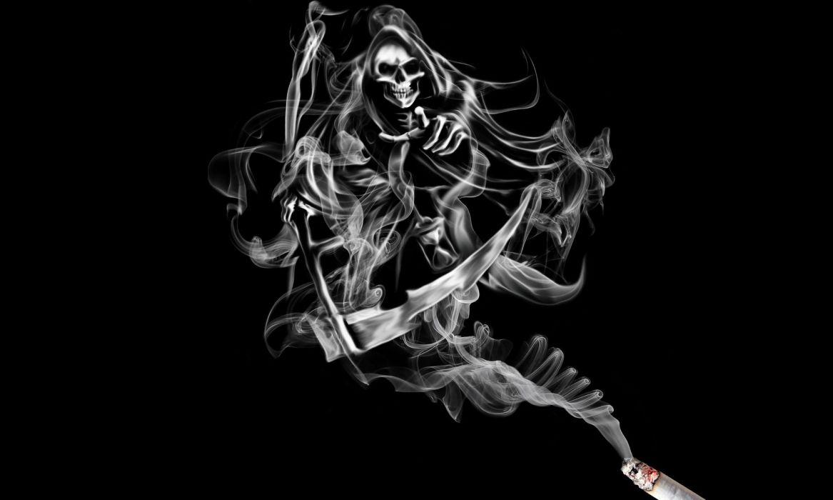 Smoke Skeleton death Fantasy reaper skull cigarette artwork dark wallpaper