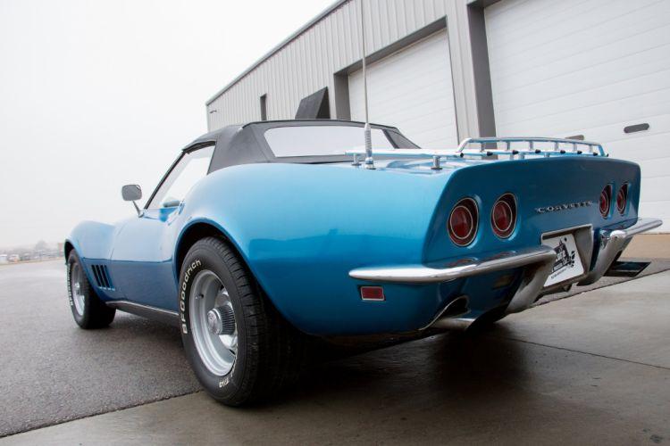 1968 chevy chevrolet Corvette (c3) blue convertible cars wallpaper
