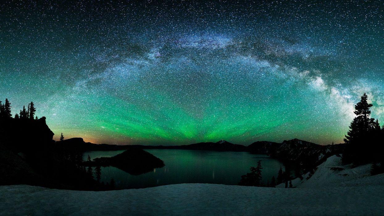 lake nature water landscape sky stars wallpaper
