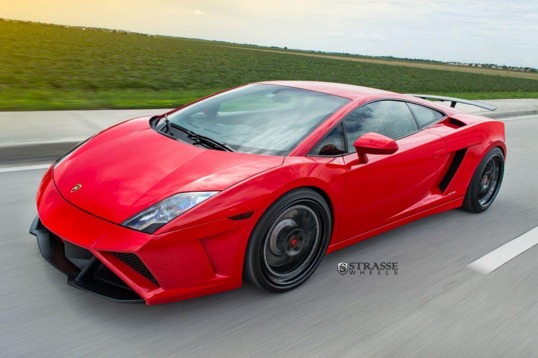 Strasse Wheels Red Lamborghini Gallardo cars coupe wallpaper