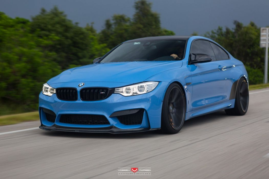 Bmw M4 Coupe Cars Blue Vossen Wheels Wallpaper