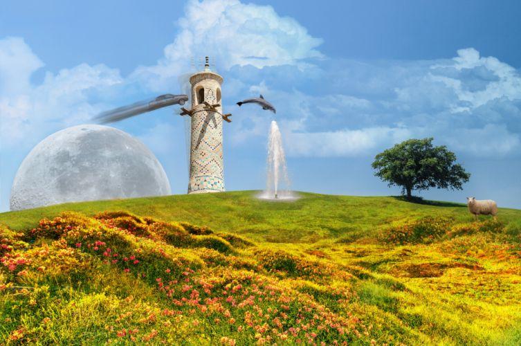 Nazanin surreal digital art hill moon dolphin tower sheep Fountain cloud sky wallpaper