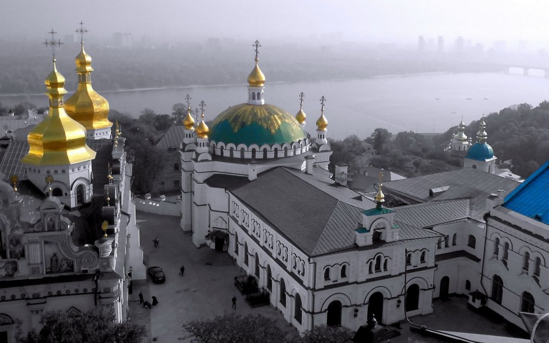 religious Kiev Kyiv eastern orthodox lavra river hills fog urban city landscape ukrainian baroque black gold dome church belltower Dnieper Dnipro Dnepr wallpaper