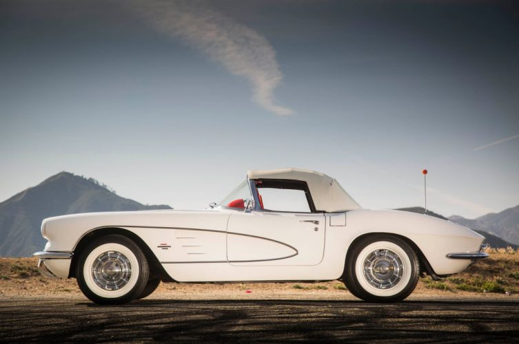 1961 Corvette chevy chevrolet convertible white (c1) cars wallpaper