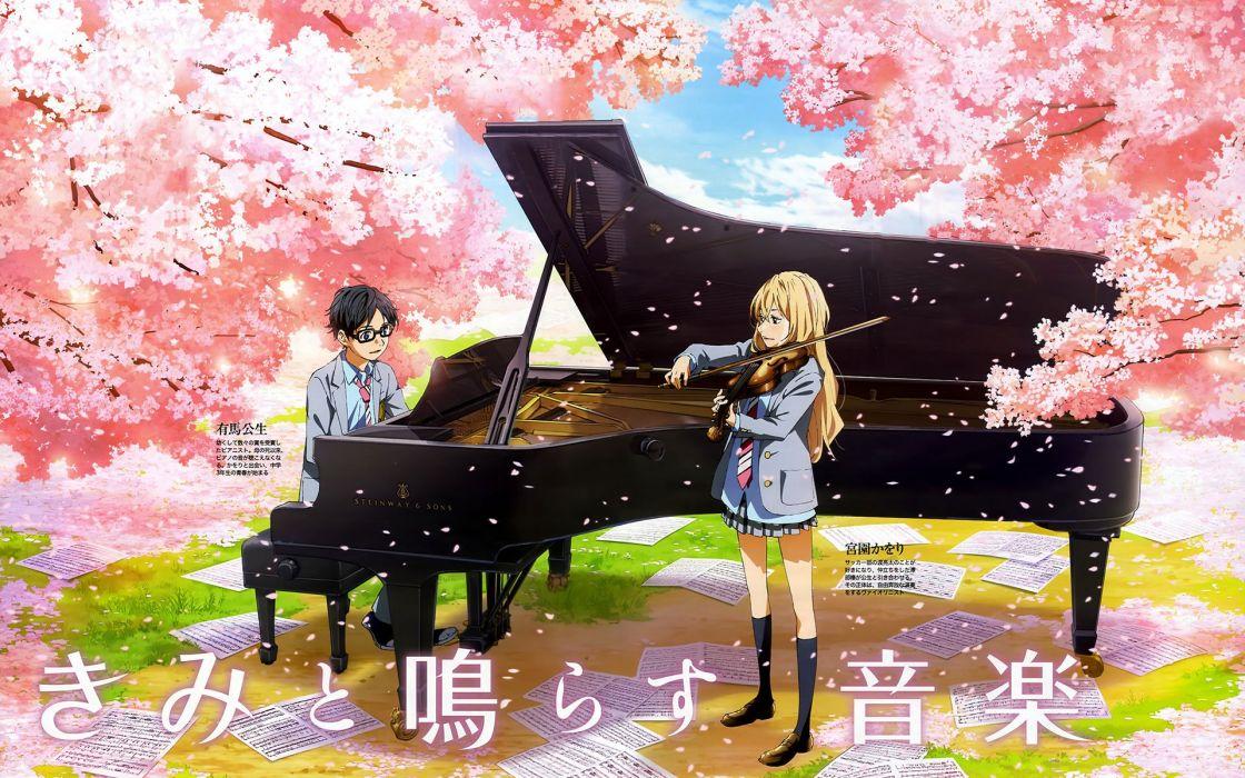 anime series girl male piano violin music sakura couple wallpaper