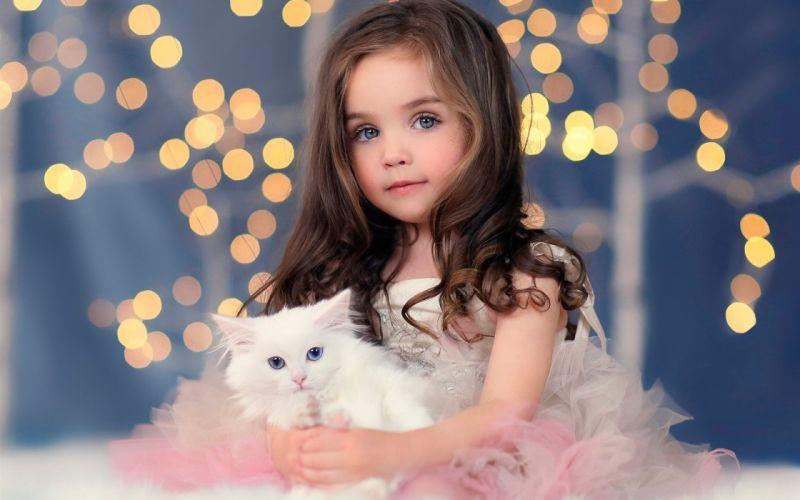 children girl blonde blue eyes cat animal cute dress angel wallpaper
