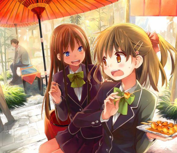 School girls anime uniform cute wallpaper