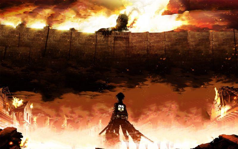 anime series Attack on Titan eren wallpaper