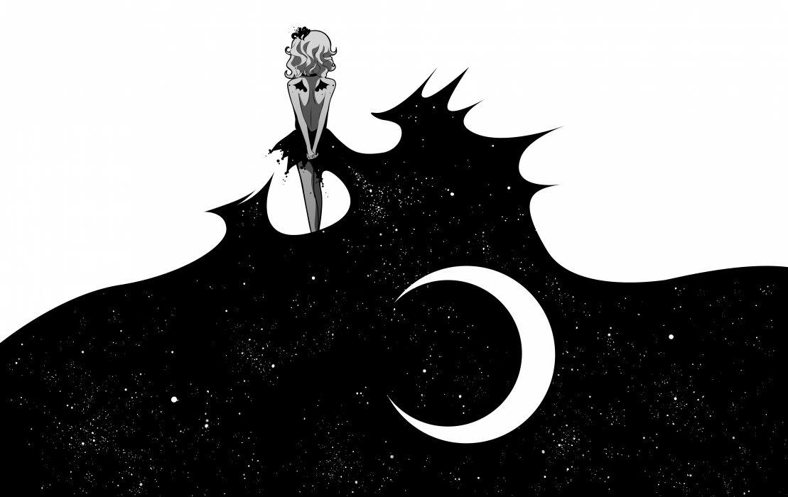 Anime art moon girl black white wallpaper | 6268x3957 ...