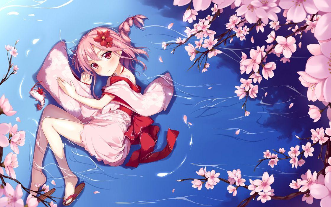 anime sakura original pink kimono girl beautiful cute wallpaper