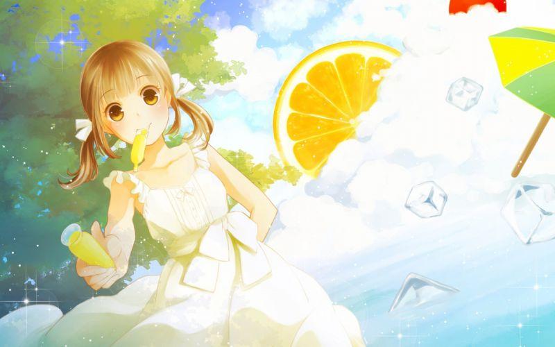 anime girl dress cute fruits lemon blonde summer ice wallpaper