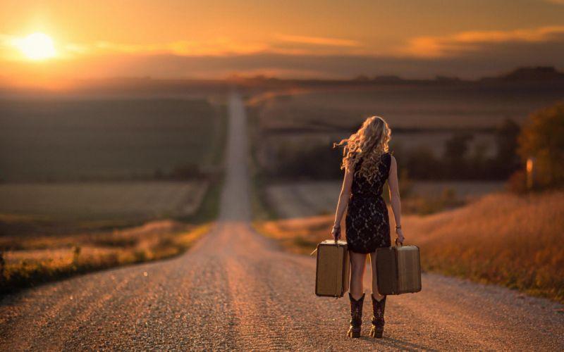 sunset girl blonde female dress suitcase road trip wallpaper