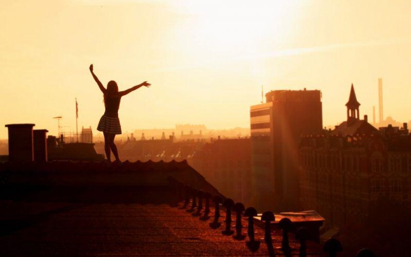 city roof girl dresses happy mood wallpaper