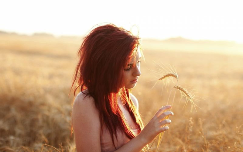 beautiful girl female beauty red hair spike summer field wallpaper